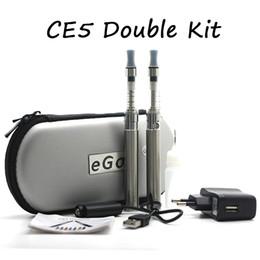 Wholesale double clearomizer - E cigarette kits eGo CE4 Double Kit CE4 Atomizer Clearomizer ego-t battery 650mah 900mah 1100mah Zipper Case Ce4 E Cig Starter Kits