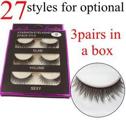 Wholesale Extensions 27 - 27 Styles 3D False Eyelashes 3D Cross Thick False Eye Lashes Extension 3 pairs box Eye Makeup 3D Natural Long Handmade Fake Eyelashes