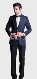 2019 темно-синий на заказ смокинг Wholesale-Wholesale Free shipping 2016-new arrival custom blue navy Tuxedos made two button Ceremony Evening Party Suit (jacket+pants) скидка темно-синий на заказ смокинг