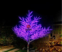 Wholesale cherry blossom christmas tree - 2M Height Outdoor Artificial Christmas Tree LED Cherry Blossom Tree Light 68W 88W Straight Tree Trunk Free Shipping LED Light Tree AC110-240