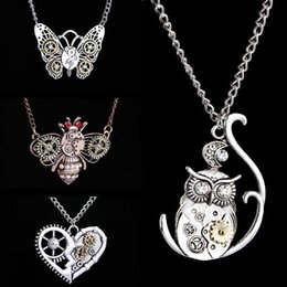 Wholesale Bees Birthday - Fashion Pendant Butterfly  owl Bee Choker Collar Necklace Women Jewelry for Girl Birthday Party Necklace Accessories Wholesale