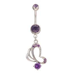 Wholesale Hot Super Sexy Girl - Super Hot Sexy Navel Simple Design Butterfly Cubic Zirconia Belly Button Ring for Girls Women Navel Bar Barbell Body Piercing Jewelry BR-010