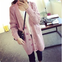 Wholesale Crochet Sweater Sleeveless - Wholesale- Crochet Women 2016 Fashion New Womens Warm Sweaters For Winter Thick Single Breasted V Neck Pocket Coat Outwear C226