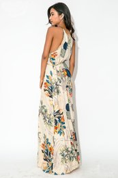Wholesale Elegant Dresses Sold Wholesale - 2016 New Fashion Ladies Halter Dress Elegant Long Maxi Dress Hot Sell Flower Print Long Dress
