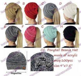Wholesale Hole Warmer - NEW Women CC ponytail cc knitted beanie Fashion Girls winter warm hat cap back hole Pony Tail Autumn Casual beanies for women