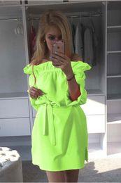Wholesale Neon Orange Shorts - Wholesale-Women Neon Green Dress 2016 Cute Ruffles Slash Neck Bow Belt Pin Up Dress Puff Sleeve Kawaii Short Dress Women Summer Dress
