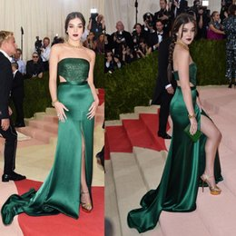 Wholesale Elastic Sparkle Dress - Hailee Steinfeld 2016 Met Gala Side Split Celebrity Dresses Strapless Beaded Sexy Back Sparkles Cutaway Evening Gowns
