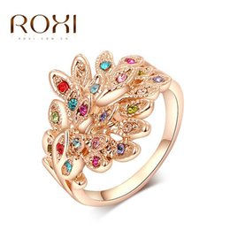 Wholesale Gold Plated Austrian Crystal Peacock - ROXI peacock Rings Rose Gold Plated Top Quality with Genuine Austrian Crystals 100% Hand Made Fashion Jewelry Christmas Gift