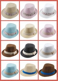 Wholesale Beautiful Baby Boy Cap - 10%off Kids Straw Fedora Hat Baby Summer Straw lace Broken beautiful side Hat Boys Girls Jazz cap Straw Fedoras Baby Strawhat 100pcs lot