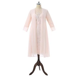Wholesale Lace Wedding Jackets For Bride - Peach 2017 Mother Of The Bride Dresses Sheath Chiffon Beaded Lace With Jacket Groom Formal Plus Size Mother Dresses For Wedding
