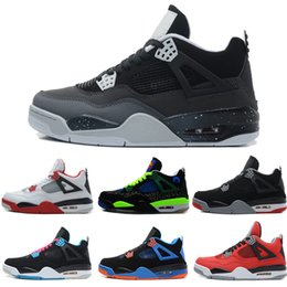 Wholesale Cheap Men Sneakers Online - 2018 high quality 4 basketball shoes men Black Cat All white Fire Red Oreo White Cement Sport Sneakers Cheap online sale 41-47