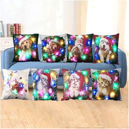 almofadas de almofadas para cão Desconto Natal Adorável Cão Gato LED Fronha Capas de Almofada 18