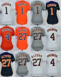 Wholesale Houston S - 2017 Women Stitched Houston Blank 1 Carlos Correa 4 George Springer 27 Jose Altuve White Orange Blue Grey Baseball Jersey
