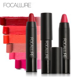 Wholesale Velvet Texture - FOCALLURE 19 Colors Matte Lipstick Lips Crayon Velvet Texture Waterproof Long lasting Easy to Wear Cosmetic Nude Makeup Lip Stick