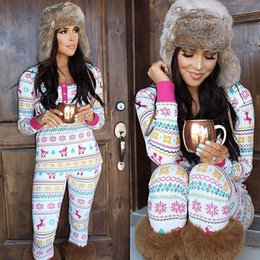 Wholesale Hot Ladies Pajamas - Wholesale- NEW Arrivals Women Ladies Christmas Sleepwear 2Pcs Sets Nightwear Suits Pajamas Sets HOT
