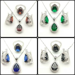 Wholesale Coral Wedding Ring - Drop Water Red Emerald Blue Black White Topaz Sterling Silver 925 Jewelry Sets For Women Necklace Earrings  Rings Free Jewelry Box