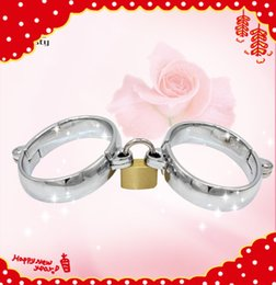 Wholesale Steel Oval Ankle - Oval Shape High Quality bondage restraints handcuffs steel anklet collar with Brass Lock Joints Suit BDSM bondage cuffs sex toys