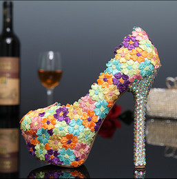 Wholesale Colorful Sexy Dresses - Luxury Colorful Wedding Shoes Bride Sexy Lace Evening Dress Shoes 14cm High-Heeled Pumps Stage Waterproof Handmade Shoes