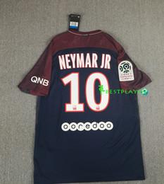 Wholesale Fc Top - Free freight 2017 top Psg Neymar Jr Soccer Jerseys 17 18 Mbappe Di Maria Draxler Cavani Third Black Maillot De Football Paris Fc