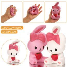 Wholesale Broken Toys - New 16cm Jumbo Kawaii Cute Squishy pink white Rabbit Animal Soft Slow rising Cartoon Kid toy Gift Sweet Scented Break Cake