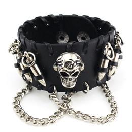 Wholesale Bullet Leather Bracelet - hot sale real leather skeleton bracelets & bangles fashion punk men cool stainless steel bullet chain wide bracelet 3 color 15