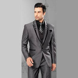 Wholesale Men S Grey Suit Wedding - Wholesale- 2017 Men Suits Slim Fit Peaked Lapel Tuxedos Grey Wedding Suits With Black Lapel For Men Groomsmen Suits One Button 3 Piece Suit