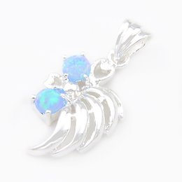 Wholesale Cheap Opal Pendants - Luckyshine 6piece lot Christmas 925sterling silver special Good things cheap price half Angel wings blue fire opal crystal pendant p0023
