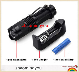 Wholesale Torch High Quality Diving - High-quality Mini Black CREE 2000LM Waterproof LED Flashlight 3 Modes Zoomable LED Torch + 14500 3.6V Battery+Battery Charger