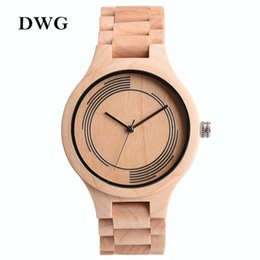 Wholesale Maple Watch - Wholesale-DWG Brand New Wood Japan Quartz Watch Men Solid Maple Wooden Wristwatch Analog Hand Clock Tree Timber Strap Houten Horloge Dames