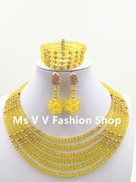 Wholesale Big Unique Earrings - 2016 Big Discount yellow Unique Wedding Bridal Bridesmaids Rhinestone african style wedding Bracelet Jewelry Set for Party Prom lpsj1000