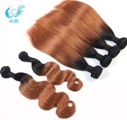 Wholesale European Two Tone Hair - Malaysian Peruvian Indian European Brazilian Hair Straight Body Wave Omber Color 1b #30 Medium Auburn 100% Human Hair Weaves Two Tones Weft