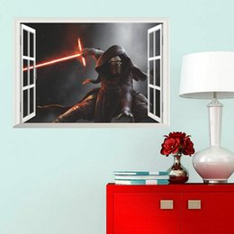 Wholesale Black Star Stickers Small - New 50*70cm star wars wall stickers Kylo Ren spaceship 3D wallpapers wall decals children removable novelty wallpaper for kids room C398