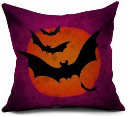 2019 flores rojas ropa de cama verde Funda de almohada de Halloween Decoración Bat Owl Printing Impreso Funda de cojín decorativa Funda de almohada Sofá Decoración para el hogar Square Throw Ornament Gift