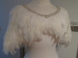 Wholesale Ivory Feather Wedding Shawl - Luxury Feather Bridal Wraps Cheap Crystal Short Wedding Jackets Beads Bridal Shawl Bolero Jacket Plus Size
