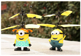 Wholesale Despicable Big - RC Helicopter Flying Induction Despicable Me Minion Quadcopter Drone Small Yellow People Light Remote Control Aircraft Kids Toys