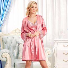 Wholesale Women Sleepwear Dress For Summer - Wholesale- 2017 Spring Summer Red Sexy Satin Nightwear Robe Sleepwear Silk Pijama Satin Robe Set Silk Robes for Women Two Piece Dress