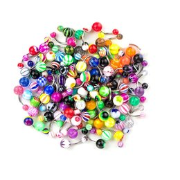 Wholesale Barbell Belly Button - 100 Pieces Belly Button Ring Tongue Rings Barbells Body Piercing Jewelry Lot Mixed Color