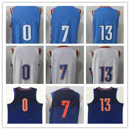 Wholesale Paul George Jersey - 2017 2018 New Season #7 Carmelo Anthony Jerseys Newest Oklahoma City #0 Russell Westbrook Blue White Stitched #13 Paul George Jersey