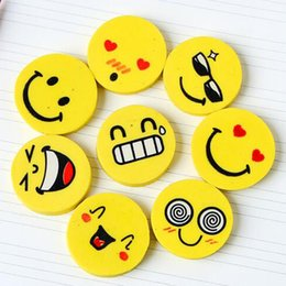 Wholesale Face Eraser - 5pcs lot School supplies office stationery cute Smiling face eraser pencil rubber Wholesale cartoon eraser Free Shipping