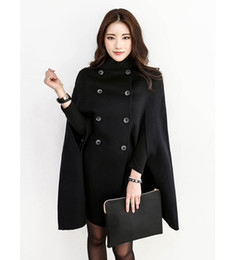Wholesale Cashmere Wool Winter Jackets Women - Black Double Breasted Cape Coat Women Military Wool Winter jacket Cloak for Women