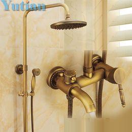 "Wholesale Valve Brush - Wall Mounted Mixer Valve Rainfall Antique Brass Shower Faucet Complete Sets + 8"" Brass Shower Head + Hand Shower + Hose"