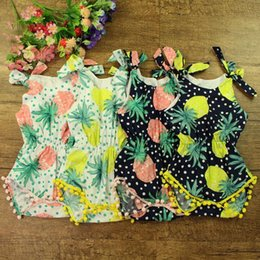 Wholesale Toddler Girls Clothes Sets Summer Fashion Tassels Print Pineapple Rompers Bow Headband pieces sets ER
