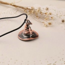 Wholesale Wizard Cap - vintage Red copper plated alloy Mage Wizard Steeple hat necklace Magic Witch Peaked cap pendant necklace women 2017 hot x214