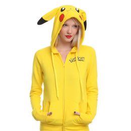 Trajes de totoro online-Chaqueta de mujer de moda amarillo Harajuku Kawayi sólido Pikachu impreso traje cola cola Totoro sudadera con capucha sudadera mujer