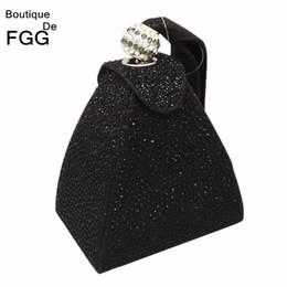 Wholesale Brown Satin Clutch - Wholesale-Women Wedding Party Fashion Mini Black Gliter Pyramid Wristlets Handbag Clutches Hot-Fixed Crystal Diamond Evening Clutch Bags