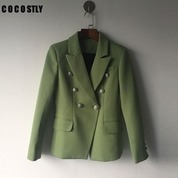 Wholesale Designer Suit Green - High Quality 2017 Designer Blazer Women Office Suit Gold Buttons Double Breasted Blazer feminino Outer Coat Green