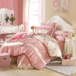 Wholesale Lace Cotton Twin Sheets - Korean floret lace cotton queen king bedding sets home decor with reversible duvet quilt comforter cover sheet 4 5pc bed in bag