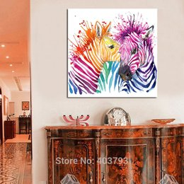 Wholesale zebra home decor - Animal Canvas Wall Art Modern For Living Room Home Decor Abstract Zebra Colorful Painting Printed On Canvas No Frame