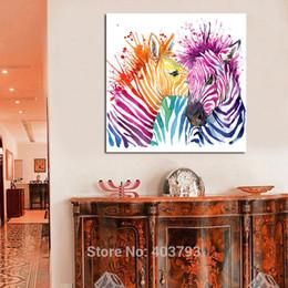 Современная абстрактная зебра онлайн-Животное Холст Wall Art Modern Для Гостиной Home Decor Абстрактная Зебра Красочные Картины Напечатаны На Холсте Без Рамки