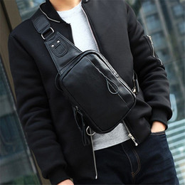 Wholesale Travel Sling Leather - Wholesale Men's leather chest bag Travel Hiking Riding Sling Bag for men Cross Shoulder Bag Sling Chest Casual backpack out283